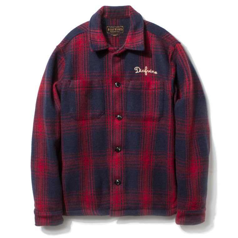 DV. LOT431 PLAID WOOL SHIRT JKT -NAVY&RED-