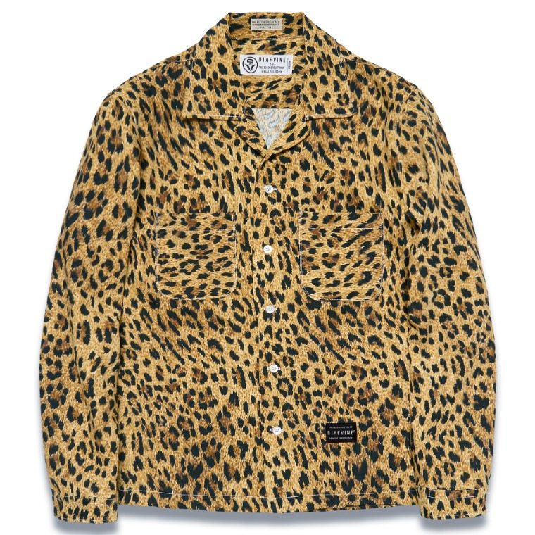 DV. LOT573 LEOPARD OPEN COLLAR SHIRTS -YELLOW-