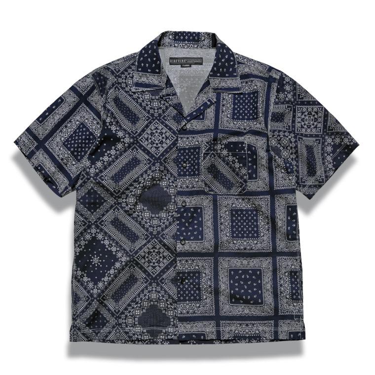 DV. LOT610 Paisley Open Collar Shirts (Two-Face) -NAVY-